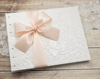 Wedding Guest Book, 9x7, Photo Guest Book, WHITE and Blush, Lays Flat, Lined Pages, Blank Pages, Unique Guest Book, Custom Made For You
