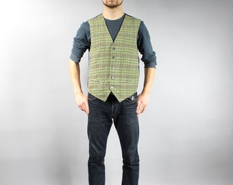 Vintage Wool blend Plaid Green Hipster Vest, Checkered Warm Western Funky Waistcoat, Casual Denim Wear Grunge Ugly Gilet . Cowboy Vest . M