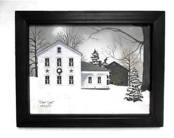 Christmas Art, Silent Night, Billy Jacobs, Country Snow Scene, Art Print, Wall Hanging, Handmade, 15 X 19, Custom Wood Frame, Made in USA