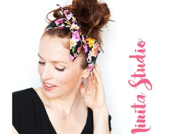 Black Headband with Flower Prints - Pink Flowers Headband Flowers Dolly Bow Headband Rockabilly Pinup Bandana Retro Women's Hair Accessories