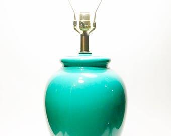 Morris Greenspan Glazed Blue-Green Ceramic and Brass, Table Lamp, Hollywood Regency