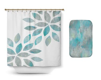 Teal and grey bath etsy for Teal and grey bathroom sets