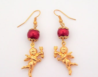 Gold Cupid Earrings