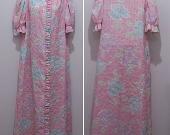 Vintage Tiffany Loungewear Robe Womens Small Housecoat Pastel Floral USA #1877