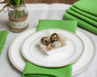 Green napkins set of 6 - Light green linen napkins - Easter napkins - Spring linen napkins - Greenery napkins