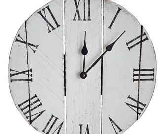 Small Wood Clock- Farmhouse Clock- White clock- Rustic Clock- Decorative Clock- Roman numeral clock- Pallet Clock- Wall Clock