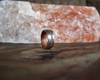 Custom Order - 8mm Brushed Black Tungsten Band with Rosewood Inlay