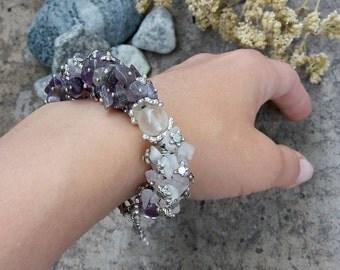 Amethyst bracelet Rose quartz bracelet Cluster bracelet Stone Bracelet Gift for mom Boho bracelet Gift for her Beaded bracelet Stone jewelry