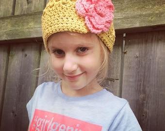 Toddler girl newsboy hat, flower visor hat, crochet newsboy style hat, girl winter hat, boy winter hat, child newsboy hat