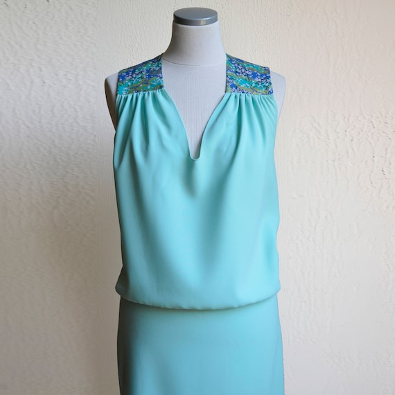 Seafoam green dress, summer dress, turquoise, green, jade, aquamarine, with Japanese fabric blue, green and gold. Short Cocktail Dress.