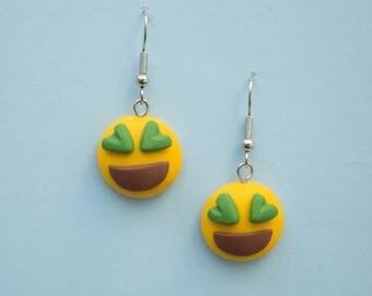 Polymer clay earrings, emoticon polymer clay earrings, emoji, love emoticon earrings, polymer clay, love earrings, green emoticon