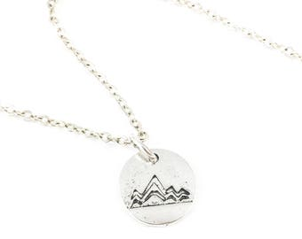 Mountain Necklace, Silver Mountain Necklace, Mountain Range Necklace, Nature Jewelry, Outdoor Jewelry, Gift for Hiker, Mountain Girl
