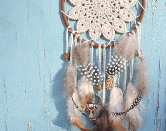 4,5'' dreamcatcher | Crochet accessories | Crochet dreamcatcher | Handmade doily | feathers accessory | Crochet doily | Boho dreamcatcher |