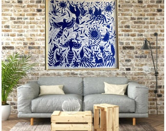 "Blue Otomi Wall decor - Wall hanging otomi - Blue otomi fabric 43""W 43""H -  Hand embroidered by Otomi people. Wood Frame sold separately"
