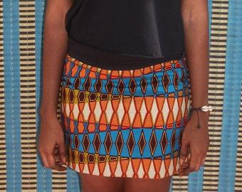 Jupe en wax, mini jupe réversible, deux jupes en une, jupe courte en coton wax imprimé Africain, rayures graphiques et fleurs, coton Ankara