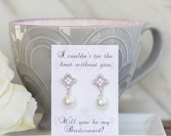 Bridesmaid Earrings | Pearl Dangle Earrings | Bridesmaid Proposal | Bridesmaid Jewelry | Maid of Honor Gift | Bridesmaid Gift | Wedding