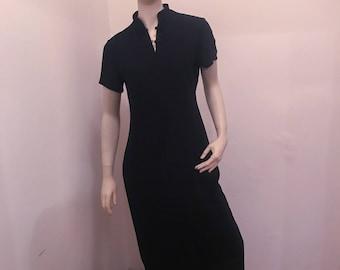 Vntg Black Cheongsam/Qipao Style Asian Looking Long Shift Dress