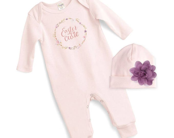 Baby Girl Easter Outfit, Baby Girl East Bodysuit, Infant Girl Easter Onesie, Newborn Easter Baby Outfit, Pink, Rose Hat Girls Tesababe