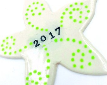 Porcelain 2017 starfish ornament