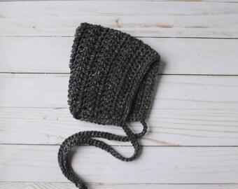 Grey Pixie Bonnet, Pixie Bonnet, Crochet Pixie Bonnet, Knit Pixie Bonnet, Crochet Bonnet, Baby Gift, New Baby Gift, Newborn Gift, Baby Hat