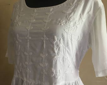 Vintage White Cotton Bohemian Dress made in India
