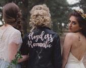 Black Hopeless Romantic' Hand Painted Faux Leather Jacket Black Customizable Vegan