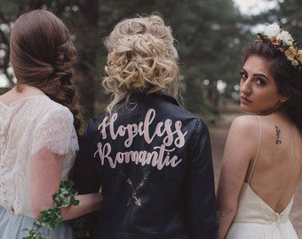 Black Hopeless Romantic' Hand Painted Faux Leather Jacket Black Customizable Vegan