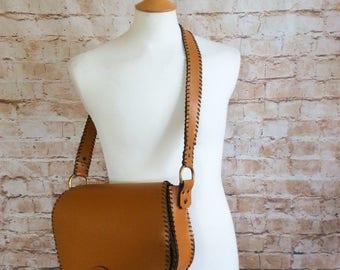Vintage Large Cartridge Bag Shooting Hunting Satchel Saddle Bag Messenger 'C' Monogram Tan Light Brown Leather c1950-60s