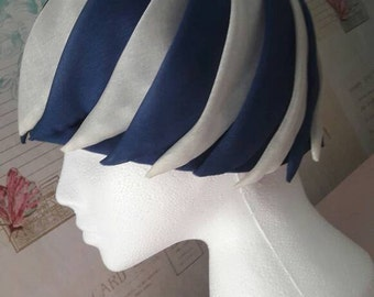 Ladies vintage hat, 1950's fashion accessory, blue, white stripe hat, gift for her, pleated style hat,