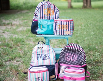 SALE-Monogrammed Backpack Set | Monogrammed Back Pack and Lunchbox | Lunch Pail | Back to School | Teen Backpack | Jadelynn Brooke