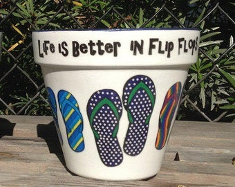 Flip Flops Flower Pot Planter, Laid-back Nautical Decor, Beach House Coastal Decor, Summer Beachy Garden Art Gift Centerpiece Wedding Decor