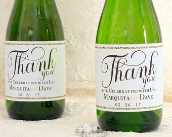 Wedding Mini Champagne Bottle Labels - Wedding Mini Champagne Label - Gold Wedding Favors for Guests - Wedding Guest Favors - Thank You Gift