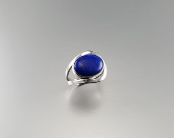 Classic Lapis Lazuli ring in modern Sterling silver setting - gift idea - oval stone - natural gemstone - AAA Grade afghan Lapis