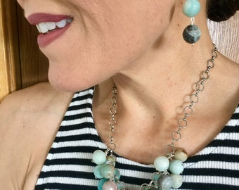 Amazonite Cluster Statement Necklace