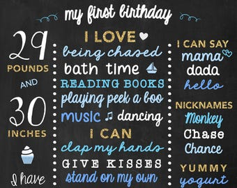 First Birthday Keepsake Boy Chalkboard, Birthday Board, Boys First Birthday Sign, Blue and Turquoise Birthday Milestones Poster