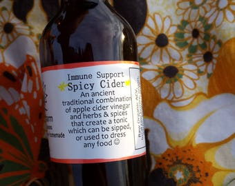 Hair-Raising Spicy + Sweet Cider: Apple Cider Vinegar, Spicy Spices, Local NYC Honey. Delicious! Support your Immunity!