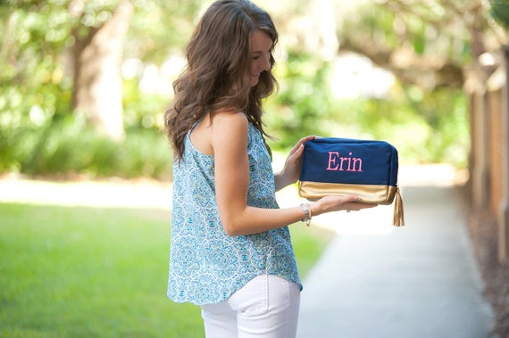 Monogrammed Makeup Bag Navy Blue Cosmetic Bag Monogrammed Bags Personalized Embroidered Bag Navy and Gold Monogrammed Gifts Bridesmaid Gifts
