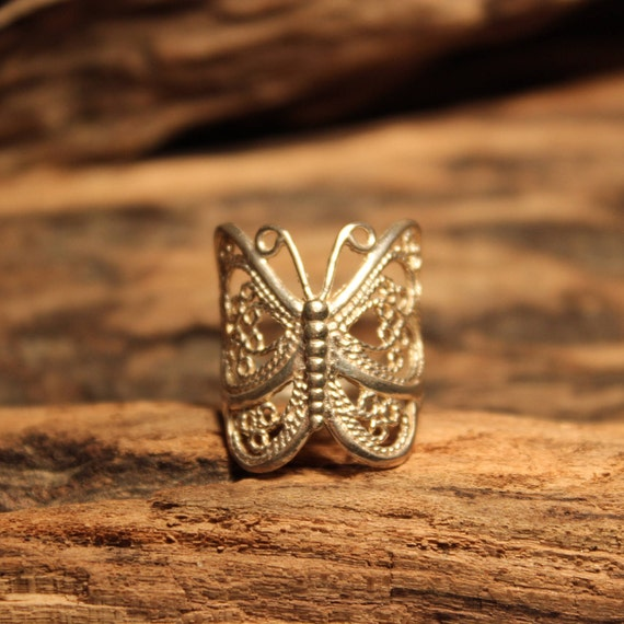Vintage Sterling Silver Butterfly Ring Size 6.5 Vintage Butterfly Ring 4.2 Grams Silver Rings Vintage Sterling Silver Butterfly Rings