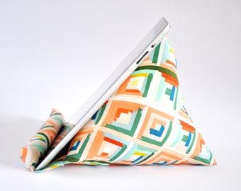 iPad Stand, iPad Holder, iPad Pillow, iPad Cushion, Tablet Stand, Tablet Holder, Tablet Pillow, Tablet Cushion - Multicolour Diamonds
