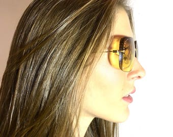 Vintage Esprit Sunglasses Oversized Yellow Lens Rhinestone Accent Gold Metal Frame 65 - 11 - 135