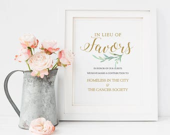 "In Lieu of Favors Sign, Charity Printable Wedding Favour Sign, 8x10"", Greenery, Printable Wedding Signage. Edit in ACROBAT"