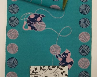 New aqua blue and green cat and yarn ball Hanhaba yukata obi belt
