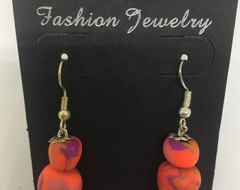 Handmade Marbled Clay Earrings