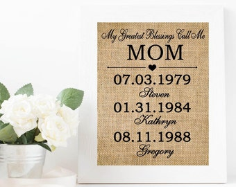 My greatest blessing call me Mom | Personalized CHRISTMAS Gift |  Gifts for Mom |  gift from kids |  Mom Christmas | burlap print -4X