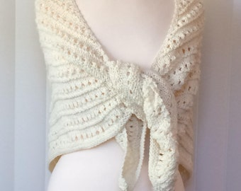 Hand Knitted Shawl, Ivory Handmade Wrap