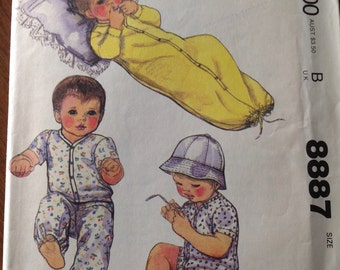 Infant's gown, infant's creeper, infant's shirt with pants, baby clothes for stretch knits, vintage baby clothes pattern, infant's hat,