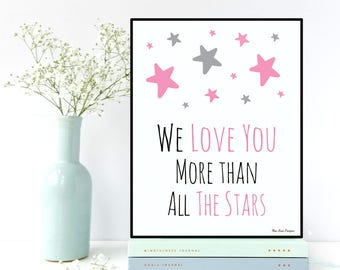 Baby girl nursery, Nursery decor, Love gift, Nursery wall art, Scandinavian poster, Baby love poster, Stars poster, Nursery art, Baby gift