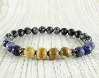Obsidian bracelet Mens bracelet Beaded bracelet Men Stone bracelet Mens Reiki bracelet Mens calming bracelet Meditation Bracelet Men Jewelry