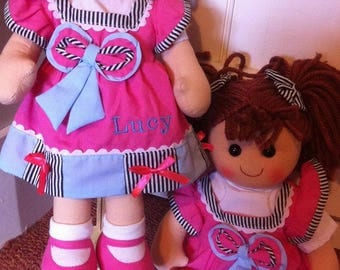 Personalised Ragdoll Emma Any Name.Christening New Baby Flower Girl Rag Doll
