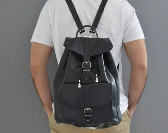 Leather Backpack, Leather Rucksack, Black Leather Backpack, Sportsbag, Made in Greece from Full Grain Leather, EXTRA LARGE.